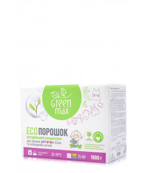 Натуральный эко порошок Green Max для стирки детских вещей 1 кг